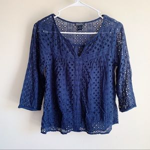 Lucky Brand Navy Blue Eyelet Cutout Blouse
